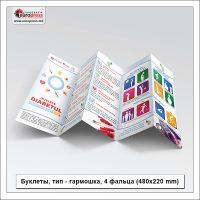 Буклеты тип гармошка 4 фальца (480x220 mm) - разнообразие Буклетов - типография Europress