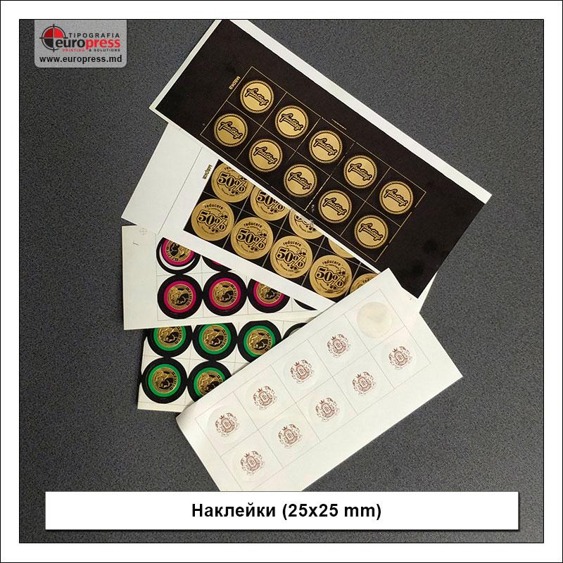 Наклейки 25x25 mm - разнообразие наклеек - типография Europress