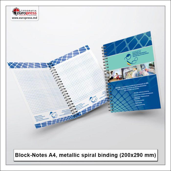 BlockNotes A4 metallic spiral binding - Variety of BlockNotes - EuroPress Printing House