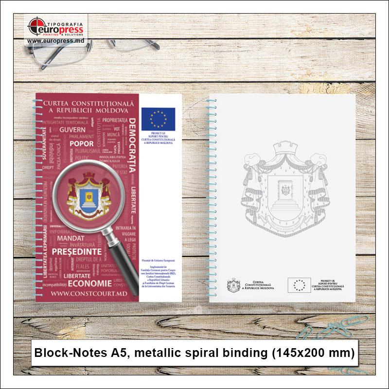 BlockNotes A5 metallic spiral binding - Variety of BlockNotes - EuroPress Printing House