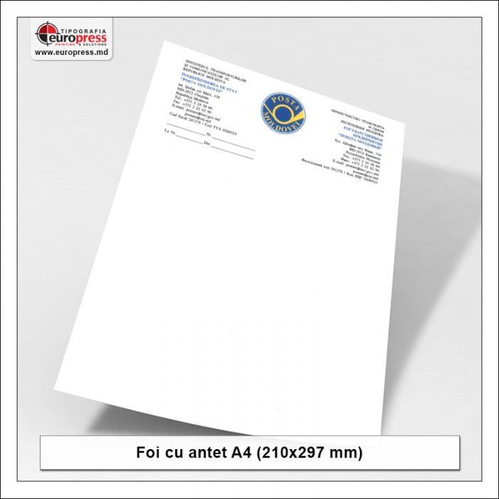Foaie cu antet Stil 2 - Varietate Foi cu antet - Tipografia Europress