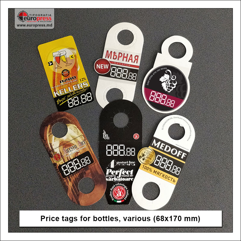 Price tags for bottles various - Variety of Price tags - EuroPress Printing House