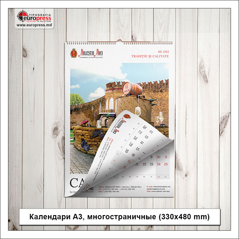 Календари A3 многостраничные 330x480 mm - Разнообразие Календарей - Типография Europress