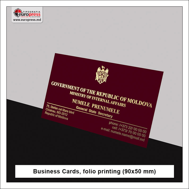 Business Cards folio printing 90x50 mm style 2 - Variety of Business Cards - Europress Printing House