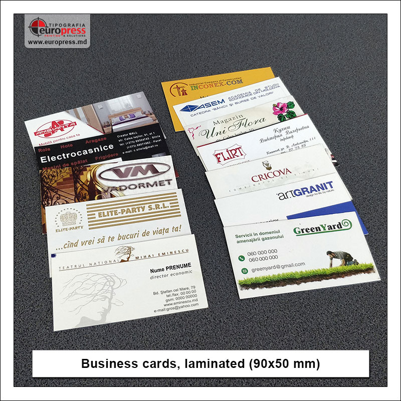 Business cards laminated 90x50 mm - Variety of Business Cards - Europress Printing House