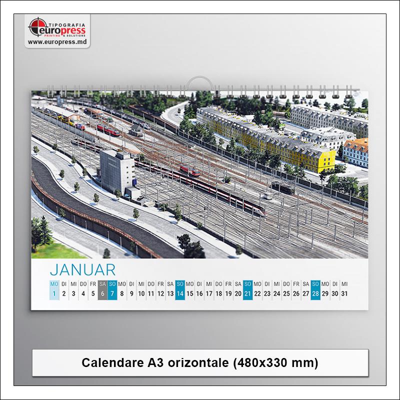 Calendar A3 file orizontal - Varietate Calendare - Tipografia Europress
